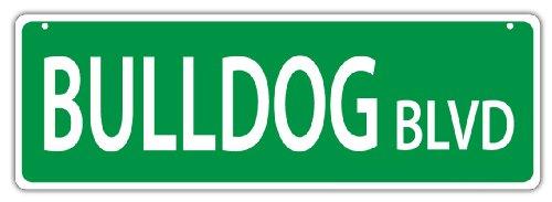 (Plastic Street Signs: BULLDOG BLVD (BULL DOG)   Dogs, Gifts, Decorations)