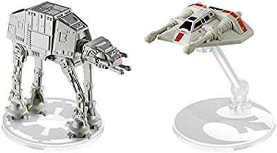 Hot Wheels Star Wars AT-AT vs. Rebel Snowspeeder Vehicles, 2 Pack