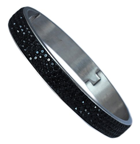 Sophistikitty Hinged Bangle Bracelet: with 4 Rows of Beautiful Sparkly Crystals - Black - 10mm in width