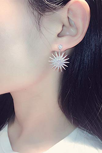 s925 Silver Needle Korea Crystal Sunflowers Diamond Earrings earings Dangler Eardrop Flash Ultra-Ultra-Luxury Trend Cents Creative Birthday Gift Sunflowers Women Girls Jewelry by KGELE Earrings