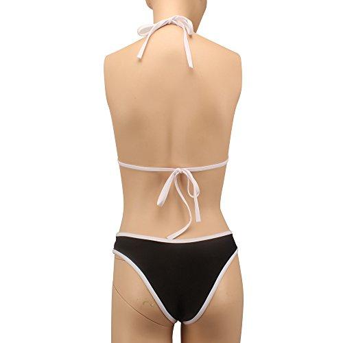 SKY Hot Selling !!!Mujeres La Sra sólido de color bikini Push Up Bra Padded Triangle Top Bikini Set Swimsuit Swimwear Negro Negro