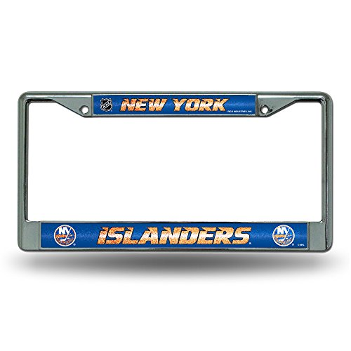 NHL New York Islanders Bling Chrome License Plate Frame with Glitter Accent