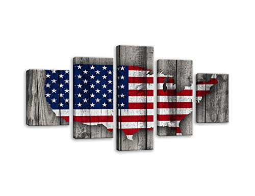 AMEMNY Vintage Wooden American Flag Map Canvas Red White Wall Art Patriotic USA Flag Painting Independence Day 5 Panels Artwork Print Giclee for Living Room Home Decor Stretched Framed Ready to Hang - Print Art Artwork