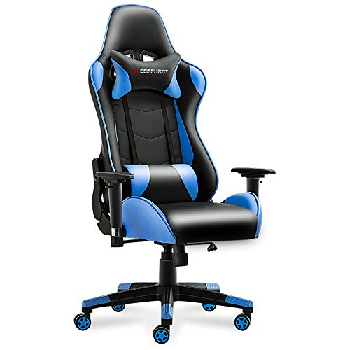 JL Comfurni Gamer Gaming Chair Racing Style Ergonomic Swivel Computer Office Chairs Adjustable Height Reclining High-Back with Lumbar Cushion Headrest Leather Chair – Blue