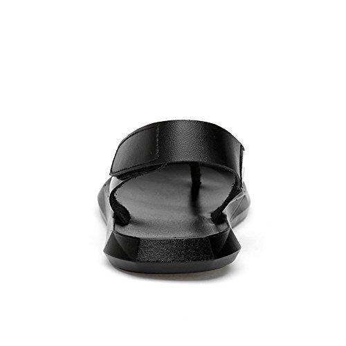 Pantuflas Cierre y Hombres de Sandalias Playa Black con de para de Suela Gancho Cuero Antideslizante Genuino Zapatos Lazo de 2018 Sandalias de x5FHBn8F