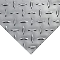 Rubber-Cal Diamond Plate Metallic PVC Flooring, Silver, 2.5mm x 4
