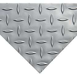 Rubber-Cal Diamond Plate Metallic PVC Flooring, Silver, 2.5mm x 4' x 15'