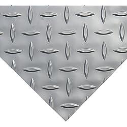 Rubber-Cal Diamond Plate Metallic PVC Flooring, Silver, 2.5mm x 4' x 15'