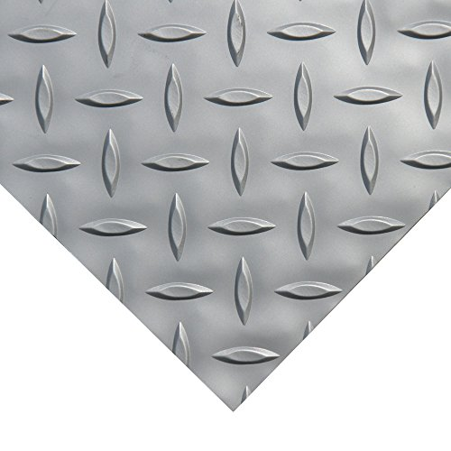Rubber-Cal Diamond Plate Metallic PVC Flooring, Silver, 2.5mm x 4