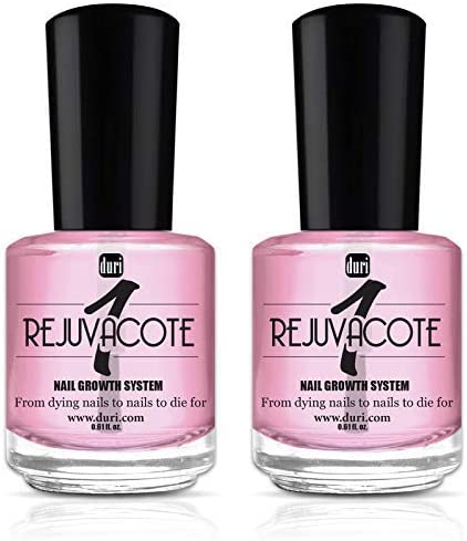 duri Rejuvacote 1 Original Maximum Strength Nail Growth System Base, Top Coat - Treatment, Nail Repair (Pack of two)