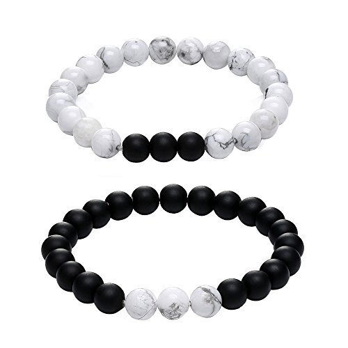 Gagafeel His Hers Black Matte Agate & White Howlite 8mm Beads Long Distance Relationship Couple Bracelet (3# 8mm)
