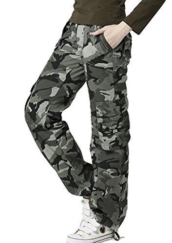 Gacchi56 Womens Wild Cargo Pants Loose Fit Military Camouflage Multi-Pockets (Old Navy Green Camo)