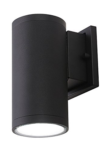 Cloudy Bay LED Outdoor Wall Light Fixture,3000K Warm White Modern Cylinder Porch Light,13W Dimmable,Black