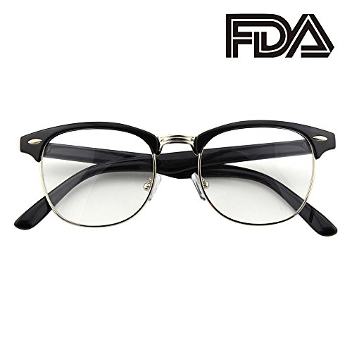 (Happy Store CN56 Vintage Inspired Classic Horn Rimmed Nerd UV400 Clear Lens Glasses,Glossy Black)