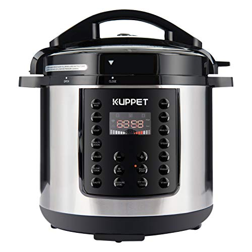 KUPPET 10-in-1 Electric Pressure cooker MultiPot, 6 Qt Multi use Programmable Multi Cooker, Rice Cooker, Slow Cooker, Steamer, Saute, Warmer, 1000W, Stainless Steel