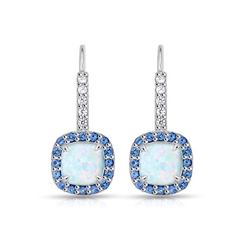 (Sterling Silver Simulated White Opal & Simulated Blue Sapphire Cushion-cut Halo Leverback Earrings)