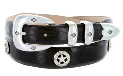 Presidential Silver Star Western Golf Concho Italian Calfskin Leather Dress Belt (40 Lizard Black) - Black Calfskin Belt Strap