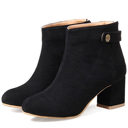 High Women TAOFFEN Warm Vintage Ankle Heel Block Winter Black Booties FwY1wd