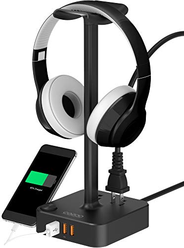 Headphone Stand with USB Charger COZOO Desktop Gaming Headset Holder Hanger with 3 USB Charging Station and 2 Outlets Power Strip - Suitable for Gaming, DJ, Wireless Earphone Display (Black)