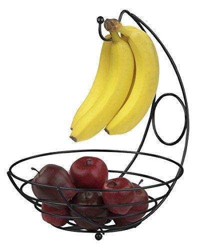 Home Basics FB44277 Fruit Basket with Banana Tree, Black