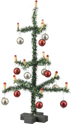 Green Tinsel Decorated Christmas Tree