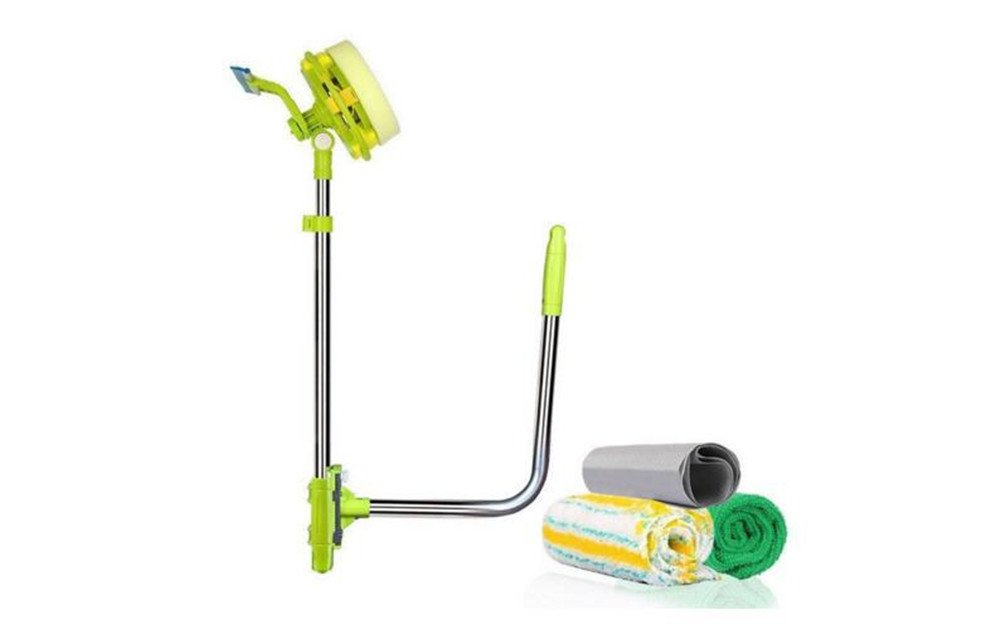 Telescopic Window Cleaner Double Faced Glass Cleaning Kit Extending Wash Head with Pole, Squeegees and Sponge Biscount