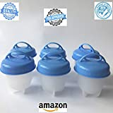 E&C Home Goods -Silicone Egg Boil- Egglettes, Egg cooker, Silicone Egg Poachers for hard boiled eggs,Egglets Egg Cups AS SEEN ON TV,Hard&Soft Maker,Boil Eggs Without the Egg Shell (Pack of 6) (Blue)