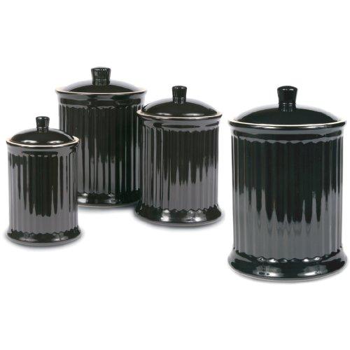 - OmniWare Simsbury Black Stoneware Canister, Set of 4