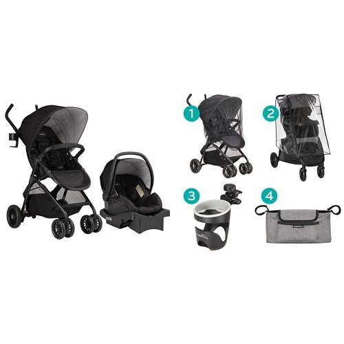 Evenflo Sibby Travel System, Charcoal with Stroller Accessories Starter Kit by Evenflo