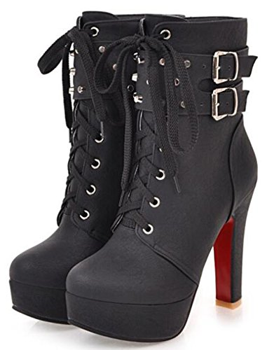 IDIFU Women's Stylish Platform High Block Heels Lace Up Side Zipper Short Ankle Boots With Studs