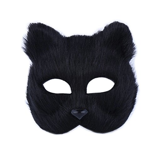 YYC 1Pcs Halloween Plush Half Fox Face Mask Masquerade Props Party Fancy Dress Costume (Halloweeen Masks)