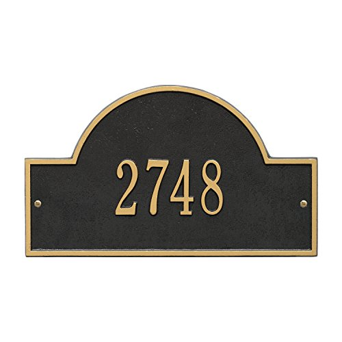 Whitehall Arch Marker Standard Address Plaque Finish ... (1-Line, Bronze Gold)