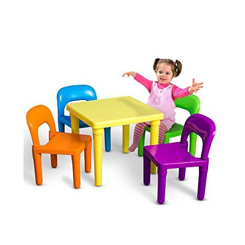 Kids Table and Chairs Play Set Toddler Child Toy Activity Furniture In-Outdoor Multi colored from Unknown