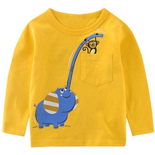- Csbks Boy Long Sleeve T Shirt Cartoon Print Toddler Tees Crewneck Tops 5 Elephant - Yellow