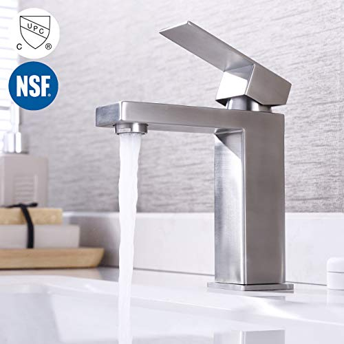 (KES Modern Bathroom Faucet Single Handle Vanity Sink Faucet SUS 304 Stainless Steel Rust Free, Brushed Steel L3156ALF-BS)