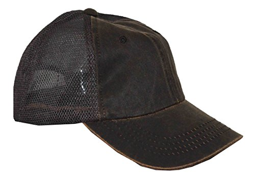 Oilcloth Cap Baseball (DPC Men's Oil Cloth Adjustable Trucker Cap Brown)