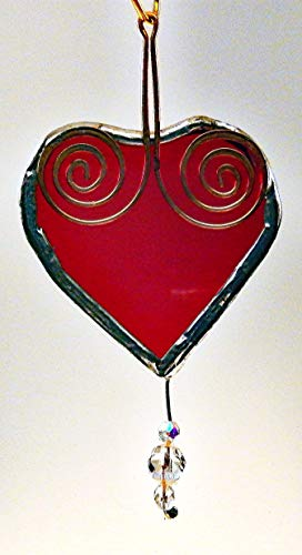 Bright Red Glass Heart with Faceted Crystal Jewels