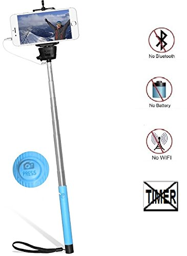 Selfie Photo Stick, Just for Laughs™, Plug-and-play Built-in shutter Button Controlled, Battery Free, Wired 43'' Extendable Monopod, iPhone & Android Compatible (Pink) by Just For Laughs (Image #1)