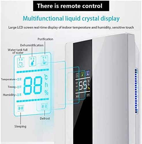 2200Ml with Digital Humidity Display Remote Control Function Sleep Mode Continuous Airing Drainage Laundry Drying And 24 Hour Timer Ideal Dehumidifier
