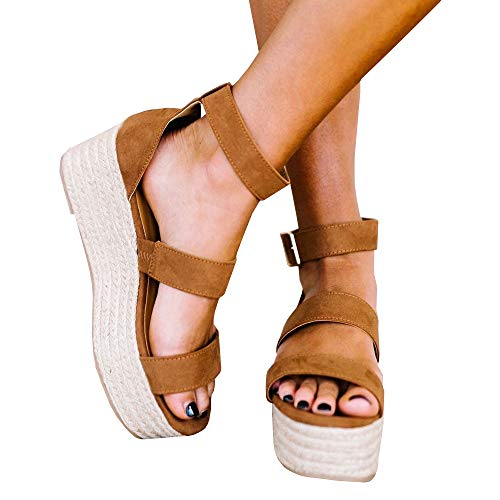(Liyuandian Womens Open Toe Ankle Strap Sandals Espadrilles Platform Wedge Sandal Ankle Strap Mid Heel Shoes (11 M US, 2-Brown))