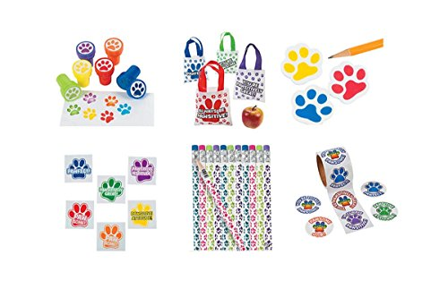 220 Pieces Paw Print Birthday Party Favor (12 Stampers, 12 Pencils, 12 Erasers, 12 Mini Tote Bags, 72 Tattoos, 100 Stickers) Bundle Pack For Animal Lover