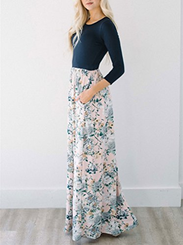 High Pockets Sleeves Navy Dress MIROL 3 Waist Spring Maxi Women's Long 4 Printed Dress Party Floral With qqaP1IxwZ