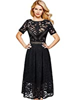 VFSHOW Womens Floral Lace Patchwork Cocktail Wedding Party A-Line Midi Dress
