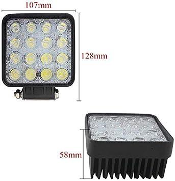 LED Offroad Flutlicht Arbeitslicht Reflektor Scheinwerfer 12V 24V f/ür SUV UTV ATV HENGMEI 8 X 48W LED Arbeitsscheinwerfer Quadrat 8X48W, Quadrat