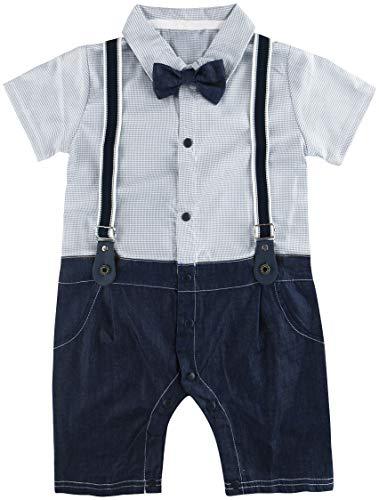 A&J Design Baby Boys' Bowtie Gentleman Romper Straps Overall (6-9 Months, Grey) by A&J Design