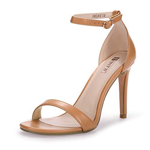 (IDIFU Women's IN4 Slim-HI Open Toe Stiletto High Heel Ankle Strap Dress Sandals Party Shoes (8.5 M US, Nude Pu))