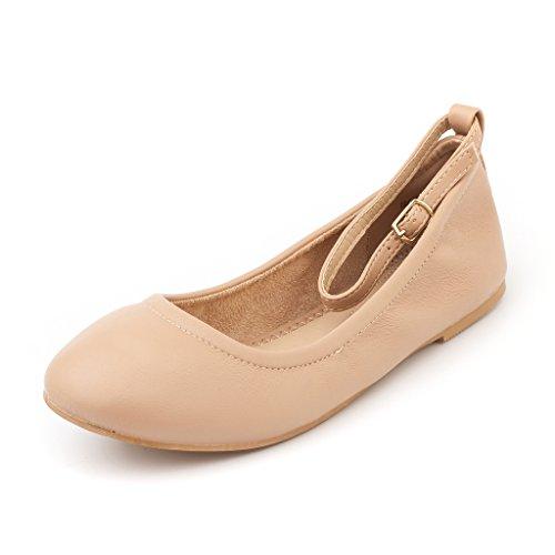 DREAM PAIR Frauen Sole-Fina-Straps-Ankle Straps Ballett Wohnungen Schuhe Nackt