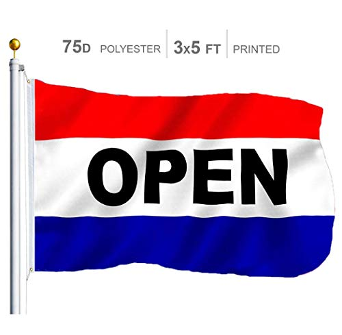 G128 - Open Sign Business Flag | 3x5 feet | Printed - Vibrant Colors, Brass Grommets, Quality Polyester