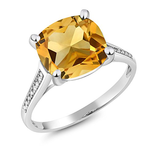 Gem Stone King 3.22 Ct Cushion Yellow Citrine 10K White Gold Ring (Size 8)