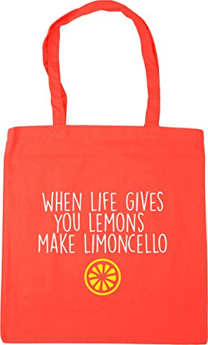 HippoWarehouse When Life Gives You Lemons Make Limoncello Tote Shopping Gym Beach Bag 42cm x38cm, 10 litres Coral